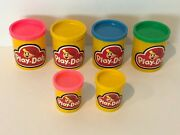 Play-doh Kenner Lot Of 6 Empty Cans 1987 Plastic Containers Jars Large Small