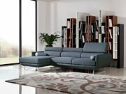 Modern Contemporay Blue Fabric 2pc Sectional W/light Blue Piping V170412