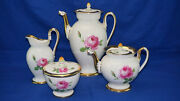 Meissen Pink Rose Coffee Pot 9, Teapot 5, Creamer 5 5/8 And Sugar Bowl With Lid