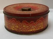 Nabisco Uneeda Round Red Tin With Flowers And Gold Accents Vintage