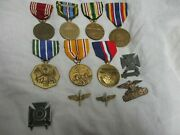 Lot Of 11 Military Badges And Pins And Medals