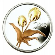 🇨🇦 Canada 50 Cents Coin, Flower, Sterling Silver Golden Tulip 🌹, Unc, 2002