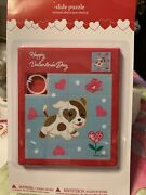 Happy Valentine's Day Puppy Pink Hearts Butterfly Flower Slide Puzzle Rare New