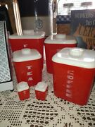 Vintage 1940s Lustro Ware Red And White Plastic Nesting Canister Set Mcm