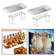 2pcs Chicken Leg And Wing Rack Bbq Stainless Steel Grill With Drip Pan Party