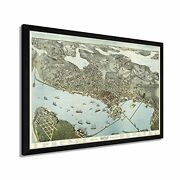 1891 Seattle Map Poster - Framed Vintage Seattle Map Wall Art Poster