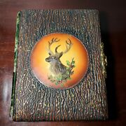 Antique Cdv/cabinet Card Photo Album W/ Tree Bark Cover And Deer / Stag Head Empty