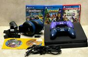 Sony Playstation 4 Ps4 Slim Cuh-2215b 500gb Console 2 Controllers 5 Games