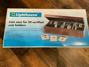 Lighthouse Wooden Coin Case For 50 Certified Coin Holders Slabs