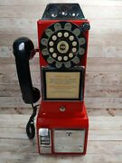 Crosley Red Retro Pay Phone Telephone Classic Wall Mount Coin Plastic With Key