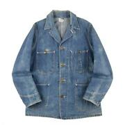Lee 91-j Denim Coverall House Tag Long L Italic E Menand039s Outwear 38 40s Vintage