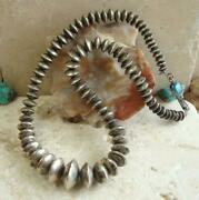 Vintage Navajo 1970and039s Susie Lee Handmade Turquoise Sterling Saucer Bead Necklace