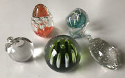 Lot Of 5 Glass Paperweights 1 Glass Eye Studios, Apple, Pepper, Egg, Round Ball