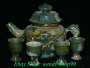 6 Old China Natural Hetian Jade Nephrite Carving Beast Face Wine Pot Cup Set