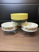 Vintage Pyrex Spice Of Life Stacking See N Store Containers Canisters Set Lot 3