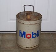 Vintage Mobil Oil Can, 5 Gallon, Flowrex, Grease, Gear Lubricant Similar Shell