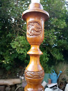 Antique Camphor Wood Floor Lamp With Carved Dragon Roundels With Gemstone Eyes