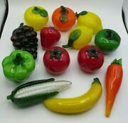 Vintage Murano-style Glass Fruit And Vegetables Lot - 13 Pcs.