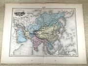 1903 Antique Map Of Asia The Far East Orient India China Hand Coloured Engraving