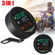 Motorcycle Temperature And Voltage Meter Battery Voltage Indicator For Engines /