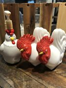 Vintage Avon Rooster Lotion Empty Bottle And Hen/chicken Soap Pump