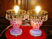 Fenton Cranberry Opalescent Coin Dot Gwtw Style Lamp, No Shade 1-2