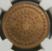 1860 New York Ny Woodgate And Co J.n.t Levick Token Ngc Ms 64 Bn G H Lovett