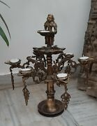 Old Brass Deeplaxmi Statue Indian Traditional 14 Oil Lamps Wick Diyas Rare Stand