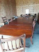Antique Large Mahogany Dining Room Table W/ 6 Chairs