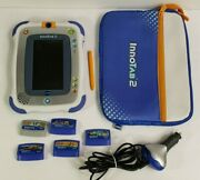 Vtech Innotab 2 Learning Tablet System With 5 Game Cartridges Case Car Adapter