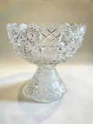 Antique American Brilliant Period Abp Large Clear Cut Glass Punch Bowl On Stand