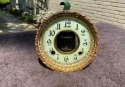 Antique Ansonia Porcelain Dial Embossed Brass Bezel And Dial Beveled Glass Nice