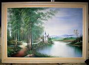 Oil Painting Signed Russian Castle Landscape Water Trees Mountains M Reinus