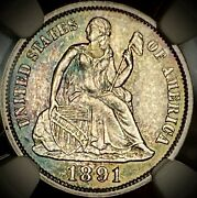 1891 10c Liberty Seated Dime Ngc Ms62 Real Nice Colors