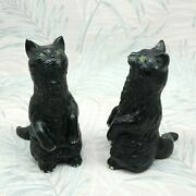 2 X Vintage Black Pottery Cat Ornaments Figurines Begging Pose Made In England