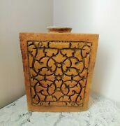 Large Mid Century Modern 12and039and039 Pottery Rectangle Mold Bottle Vase Vessel Heavy