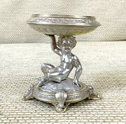 1879 Antique Solid Silver Gilt Table Garniture Bowl Stand Faun Satyr Statue Rare