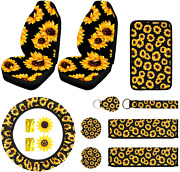 12pcs Sunflower Car Accessories Set Include Car Front Seat Covers Sunflower Ste