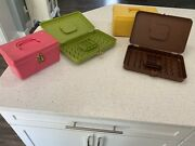 4 Wilson Wil-hold Sunbury Pa Vintage Sewing Boxes Plastic Lot