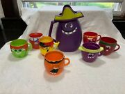 Mint Vintage Pillsbury Funny Face - Goofy Grape Pitcher And 7 Different Mugs