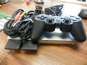 Sony Playstation 2 Scph-90001 With 2 Memory Cards And Turtles Smash-up Game