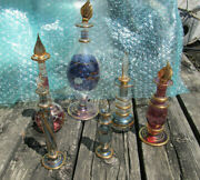 Lot Of 6 Egyptian Perfume Bottles And Others Blown Glass Used With Lots Of Wear