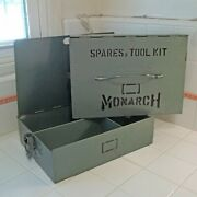 Vtg Industrial Steel 2-pc Latching Spares Parts Tool Kit Case By Monarchrare