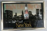 Vintage Miller Lite Nyc Glass Mirror Framed Picture Sign New York World Trade