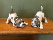 Lot Of 2 Lladro Playful Puppy Beagle Figurines One Brown One Grey