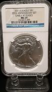 2011 S Silver Eagle 25th Anniversary Set Ngc Ms69 Early Releases