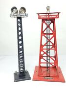 Lot Of 2 Lionel 394 Beacon Tower And Double Light Search Tower Metal O Gauge Vgc
