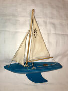 Vintage Star Yacht Wooden Toy Sail Boat Blue Sy1 Birkenhead Made In England⛵️