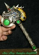 7.4old China Silver Inlay Turquoise Carve Dragon Head Weapon Arms Ax Statue