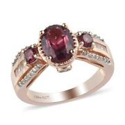 Rose Gold Over 925 Sterling Silver Garnet Promise Ring Jewelry Size 6 Ct 2.1